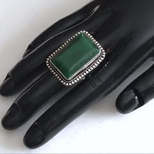 Natural Emerald Stone Statement Ring 9.25 - 9.5